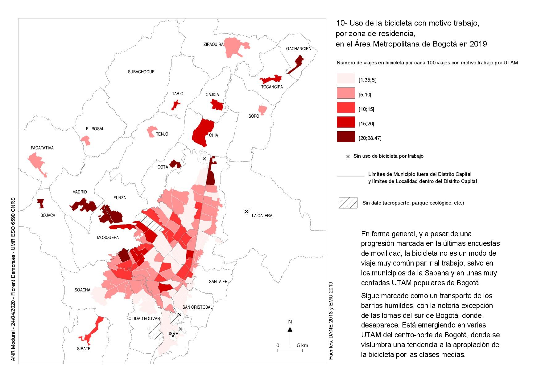 Mapa del uso de la bicicleta para ir al trabajo en Bogota